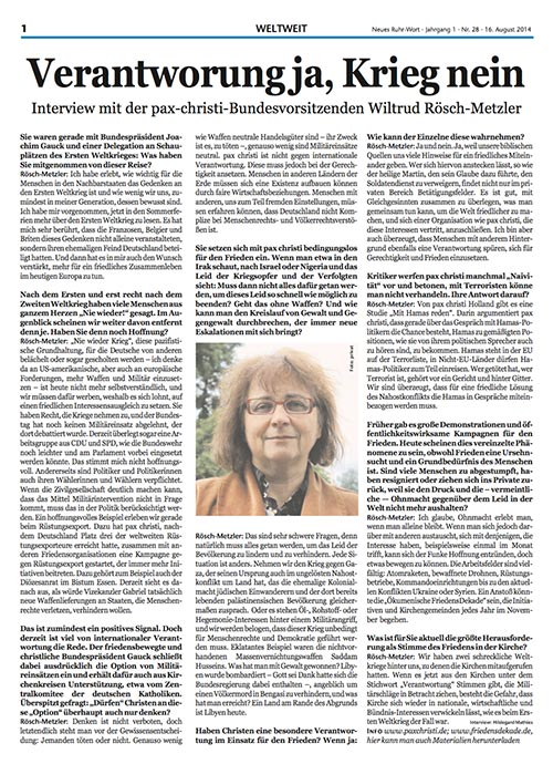 presse_2014_InterviewPaxChristi_NeuesRuhrwort